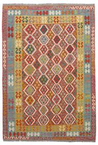 Kelim Afghan Old Style Matto 203X302 Itämainen Käsinkudottu Tummanruskea/Ruskea (Villa, Afganistan)