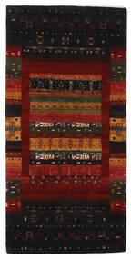 Gabbeh Loribaft Matto 68X138 Moderni Käsinsolmittu Musta/Valkoinen/Creme (Villa, Intia)